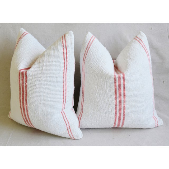 """French Homespun Rose/Pink Striped Grain Sack Feather/Down Pillows 19"""" X 21"""" - Pair For Sale - Image 11 of 13"""