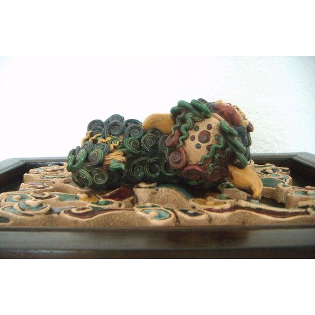 Asian Framed Antique Chinese Ceramic Tile - Foo Dog/Lion For Sale - Image 3 of 10