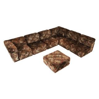 Post-Modern Sectional Sofa in Various Colored Velvet Upholstery For Sale