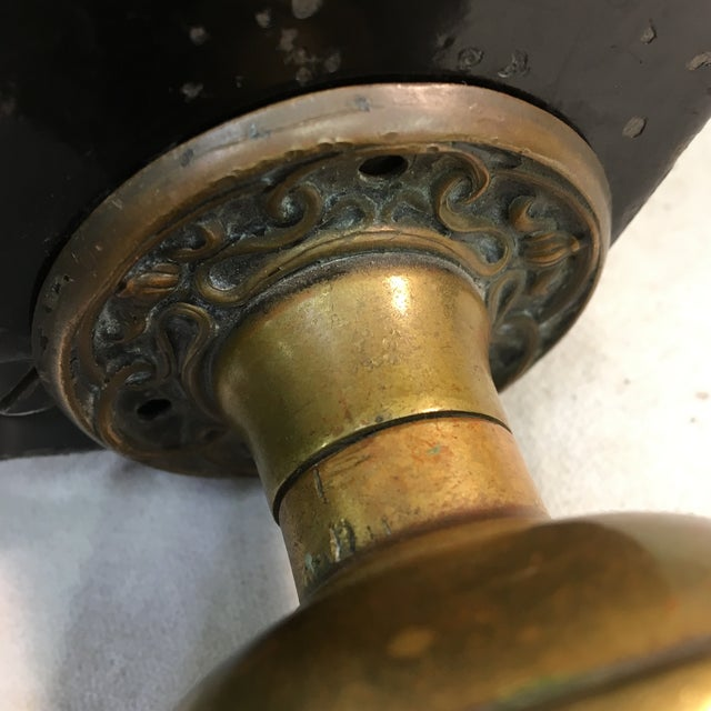 Brass Antique Early 20th Century Yale Mortise Lock With Eastlake Doorknobs For Sale - Image 8 of 13