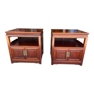 Asian Style End Tables Rosewood a Pair For Sale
