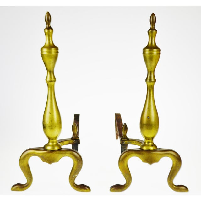 Vintage Logan Co. Federal Style Brass Fireplace Andirons - A Pair Condition consistent with age and history. Patina has...