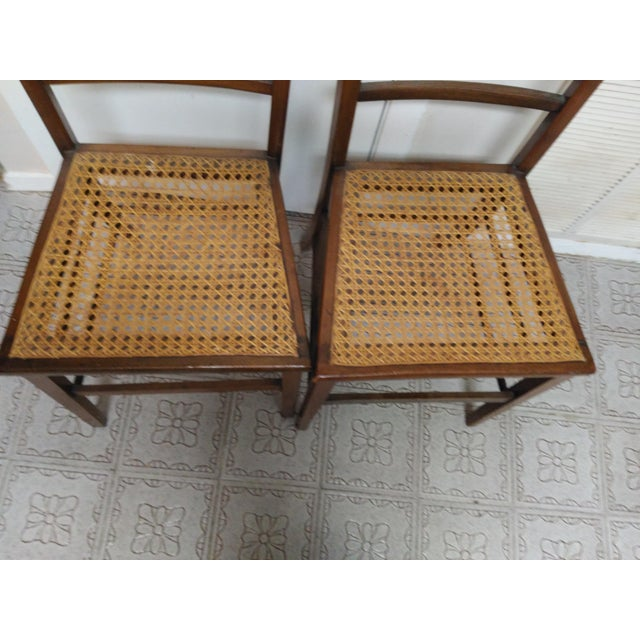 Cane Seat Wood Chairs - A Pair - Image 9 of 10