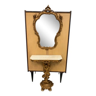 19th Century Giltwood Cherubs Console Table & Wall Mirror For Sale