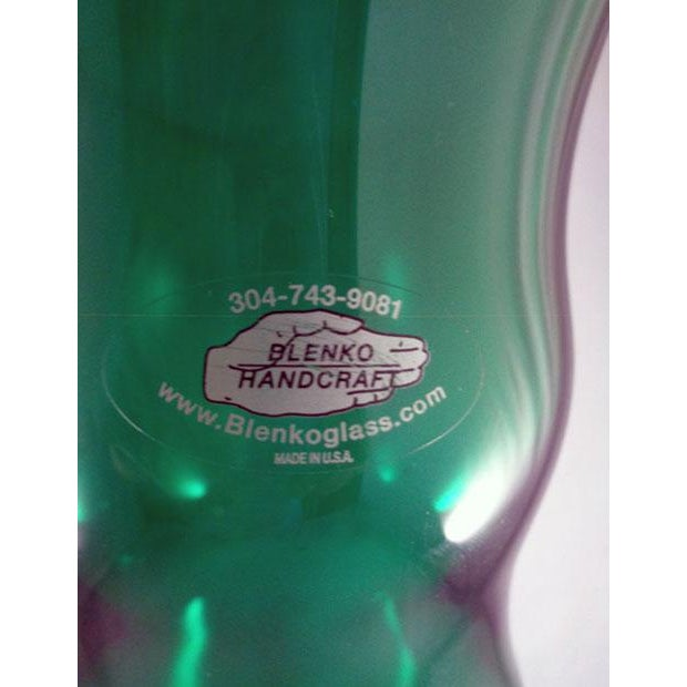 "Green Floor Vase Clear Pedestal w/Clear Foot Genie Style Vase 19 1/4"" H X 6 3/8"" Rim X 6"" Base Blenko Tag Still On Vase..."
