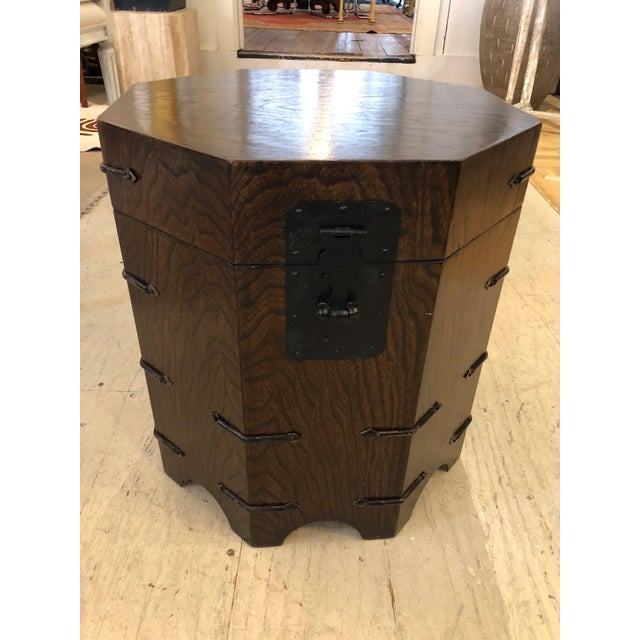1950s Asian Dark Wood Octagonal Chest/End Table For Sale - Image 12 of 12