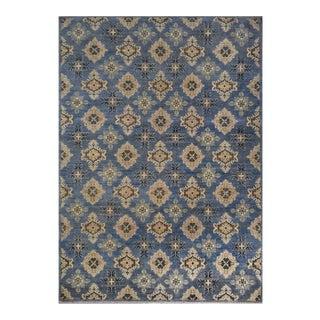 New Kazak Afghan Blue Wool Rug- 6'x9' For Sale