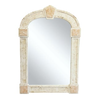 Postmodern Travertine and Tessellated Blush Marble Mirror For Sale