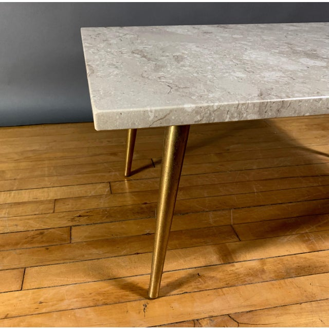 1960s Mid-Century Travertine and Brass Coffee Table, Usa For Sale - Image 5 of 10