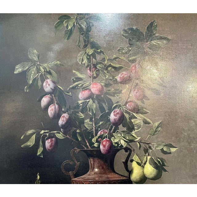 """Wine Frank Arcuri, Still Life Oil on Canvas. Framed. """"Small Feast With Figs"""" 1999 For Sale - Image 8 of 13"""