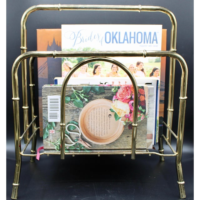 Vintage Brass Bamboo Style Magazine Rack / Book Shelf For Sale - Image 12 of 13