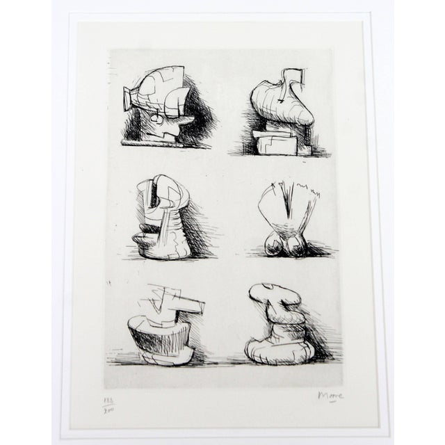 1970s Mid-Century Modern Print Six Sculpture Motives Signed by Henry Moore 182/200 For Sale - Image 5 of 10