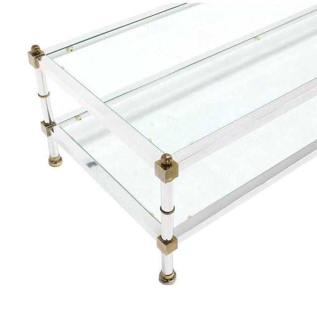 Mid-Century Modern Chrome Brass Glass Top Large Rectangular Coffee Table For Sale - Image 4 of 7