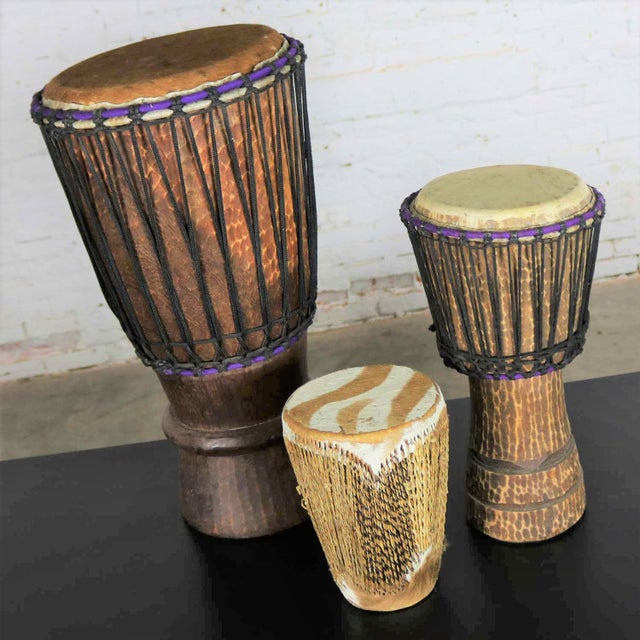 Trio of Tribal Drums Carved Wood and Animal Hide For Sale - Image 4 of 13