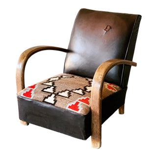 Leather Navajo Art Deco Chair For Sale