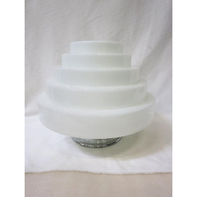 Unique Art Deco Stepped Birthday Cake Skyscraper ceiling glass globe in white milk glass features a classic five-tier...