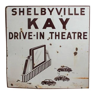 """1950s Vintage American Double-Sided """"Drive in Theatre"""" Enamel Sign For Sale"""