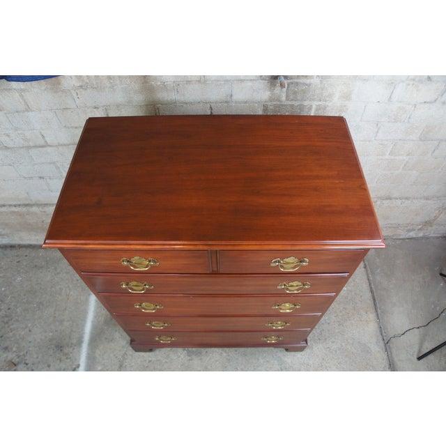 1982 Henkel Harris Chippendale Wild Black Cherry Tallboy Dresser For Sale - Image 6 of 13