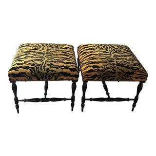 1990s Vintage Velvet Tiger Upholstered Ottomans- A Pair