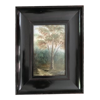 Vintage Mid-Century Oil on Board Painting of a Tree For Sale
