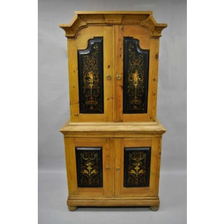 Antique Country French Neoclassical Putti Painted Pine Cabinet Preview