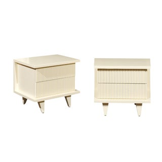 1938 Pair of Restored End Tables by Widdicomb in Cream Lacquer