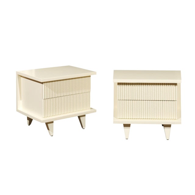 1938 Pair of Restored End Tables by Widdicomb in Cream Lacquer For Sale