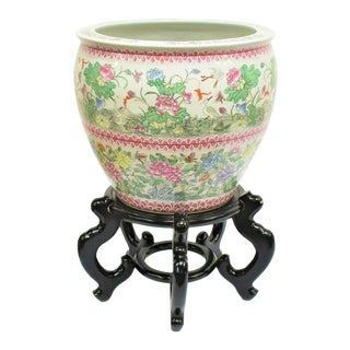 Vintage Large Famille Rose Porcelain Chinese Planter Fishbowl For Sale