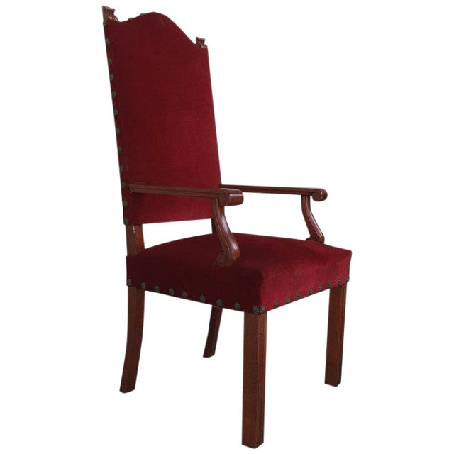 19th Century Spanish Revival High Back Armchair With Red Velvet Upholstery For Sale