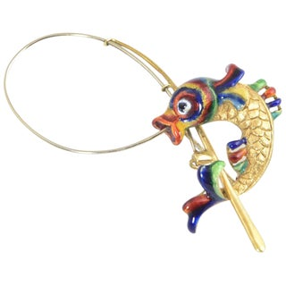 Italian Enamel and 18k Gold Fish Caught on a Rod Brooch For Sale
