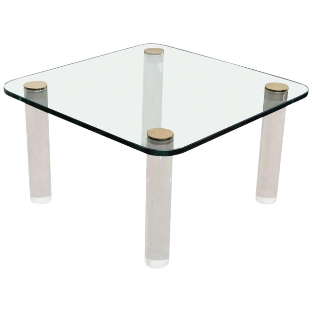 Mid Century Modern Pace Glass, Brass & Lucite Small Coffee / Cocktail Table or Occasional Table - Image 1 of 10