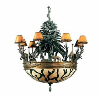 Maitland Smith Verdigris & Antique Brass African Wildlife Chandelier For Sale