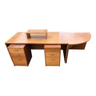Mid-Century Modern Danish Teak Executive Desk by Jesper International - 5 Pieces For Sale
