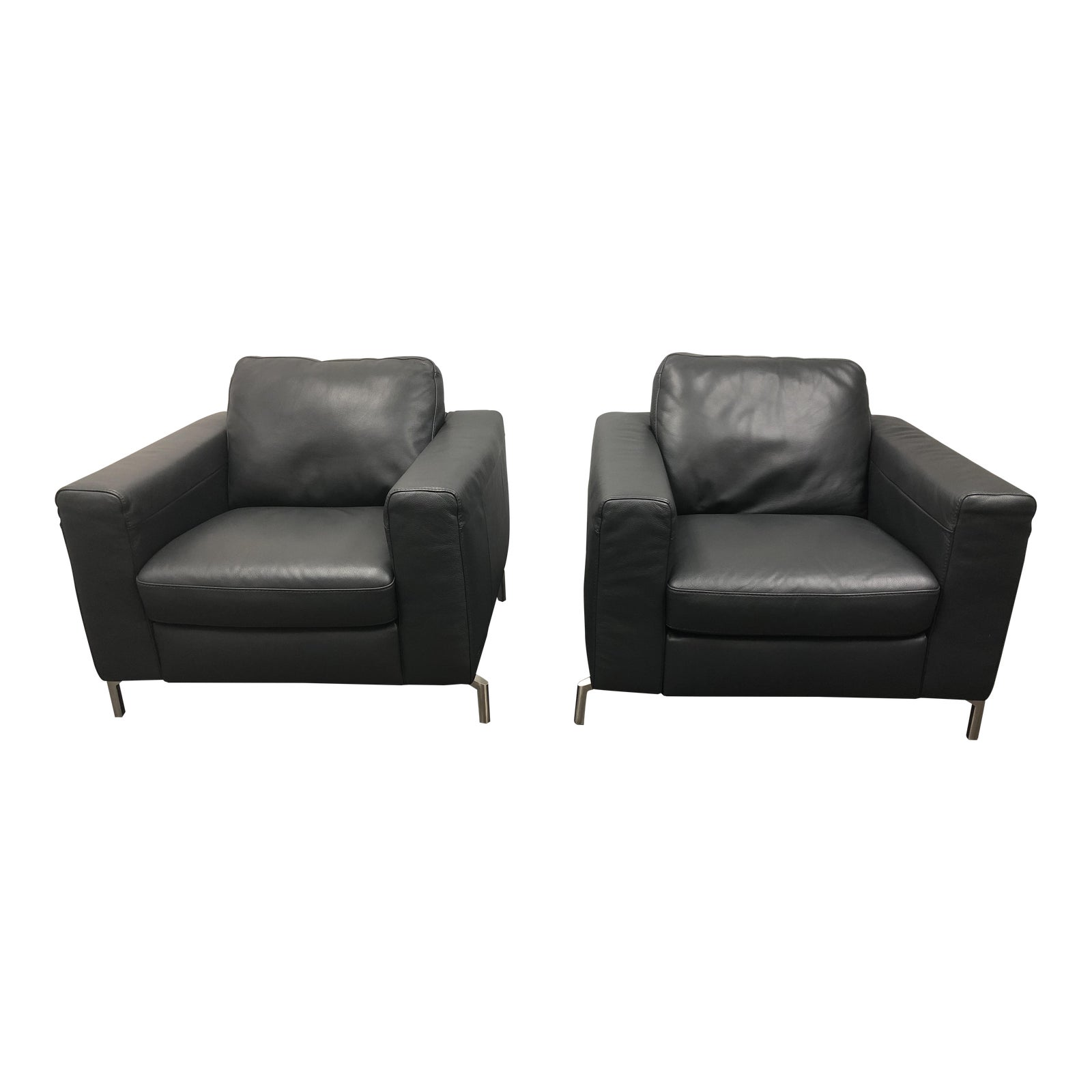 Natuzzi Sollievo B845 Leather Armchairs A Pair Chairish - Red-italian-leather-armchairs-from-natuzzi