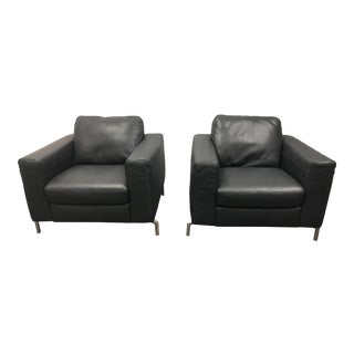 Natuzzi Sollievo B845 Leather Armchairs - A Pair