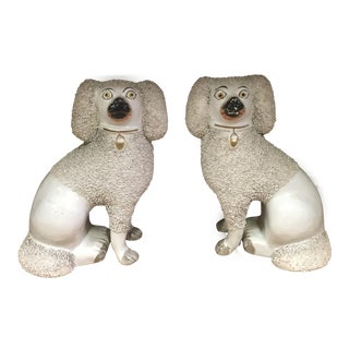Antique Staffordshire Poodles - A Pair