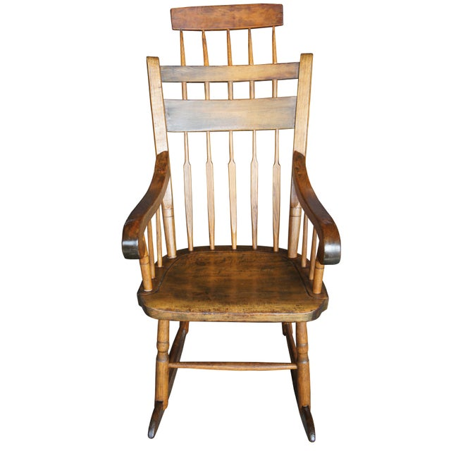 Rustic 19th Century Antique Chestnut Windsor Comb Back Rocking Chair For Sale - Image 3 of 13