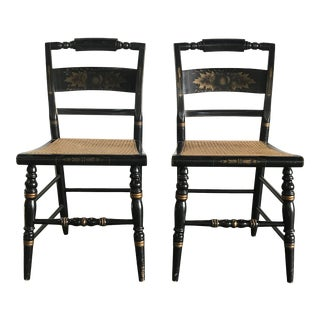Vintage Hitchcock Stenciled Cane Chairs - a Pair For Sale