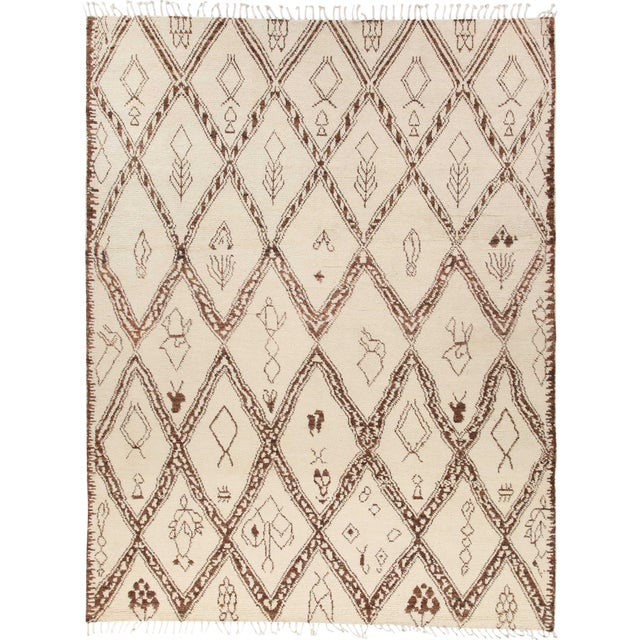 """Bohemian Hand-Knotted Area Rug 8' 1"""" x 10' 4"""" For Sale"""