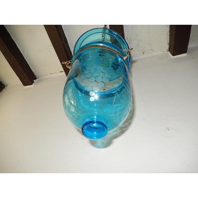 English English Cobalt Blue Bell Jar Lantern Chandelier For Sale - Image 3 of 13