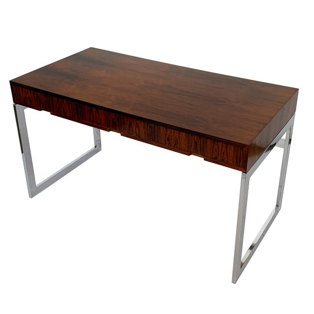 Milo Baughman Rosewood and Chrome Desk For Sale In Chicago - Image 6 of 13