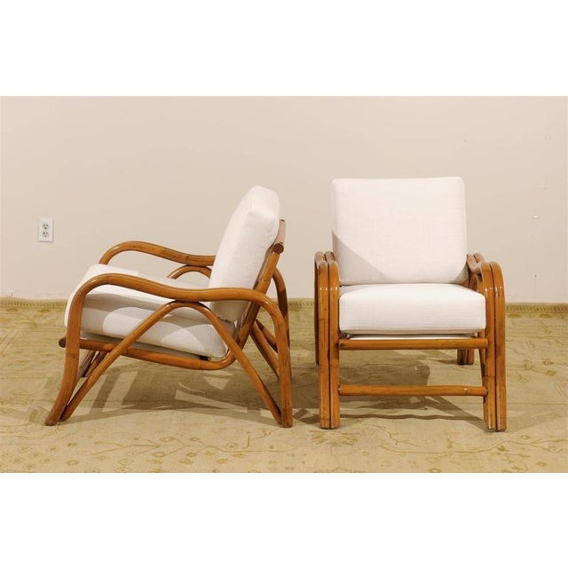 Fantastic Pair of Restored Vintage Modern Rattan Loungers For Sale - Image 4 of 8
