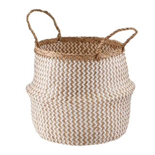 Medium Zig Zag Sea Grass Belly Basket For Sale