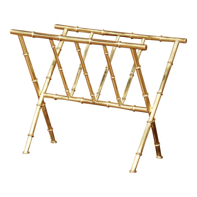Mid-20th Century French Maison Baguès Bamboo Brass Magazine Rack For Sale