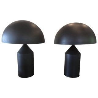 Magistretti Atollo Pair 1970s Black Aluminum Table Lamps For Sale