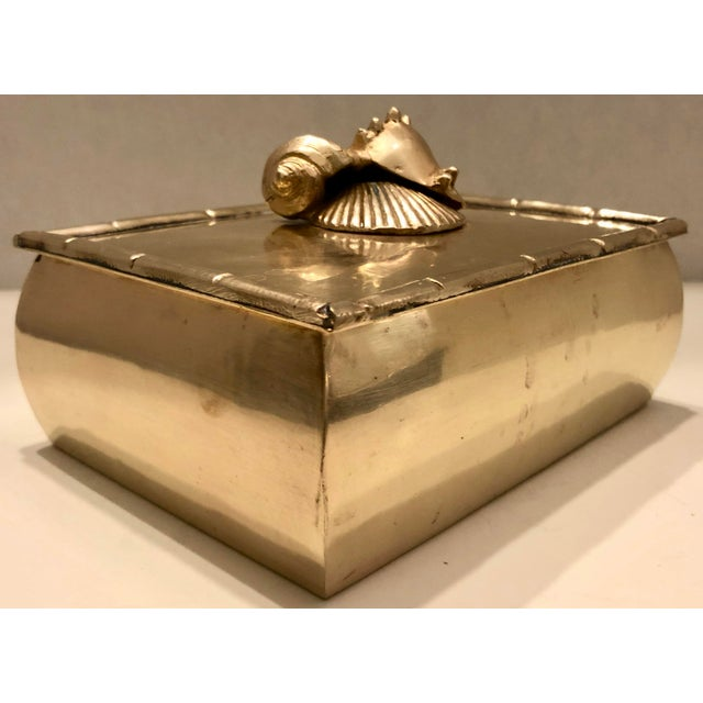 Metal Brass Box With Shells Decor For Sale - Image 7 of 7