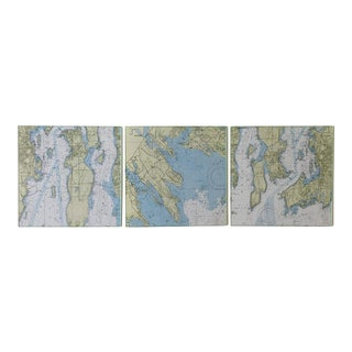 1990s Vintage Nautical Chart Tiles- Set of 3 For Sale