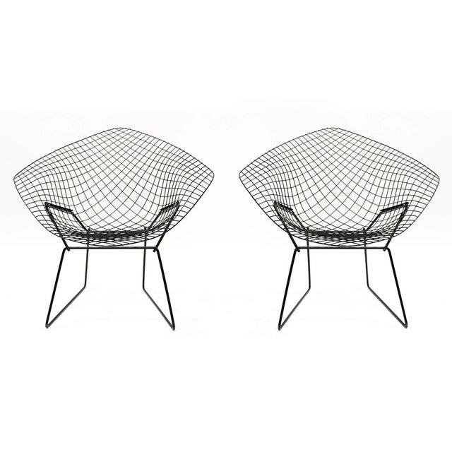 Harry Bertoia Diamond Black Chairs - A Pair - Image 2 of 5