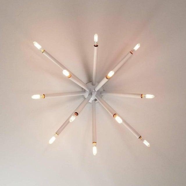 """Mid-Century Modern Model 130 """"Strobus"""" White Enamel Flush Mount Light Fixture, Blueprint Lighting For Sale - Image 3 of 5"""