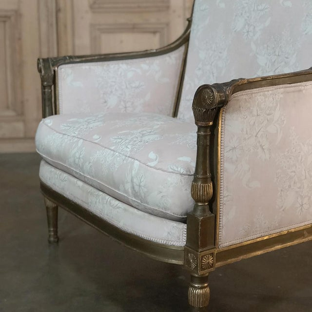 French 19th Century Italian Gilded Neoclassical Chair & a Half For Sale - Image 3 of 11